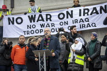 11-01-2020 - Jeremy Corbyn speaking No War With Iran, after the assassination of Iranian general Qassem Soleimani organised by Stop the War Coalition, Trafalgar Square, London. © Jess Hurd