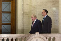 13-01-2020 - Boris Johnson and Taoiseach Leo Varadkar, Stormont Parliament Buildings after a joint meeting with Taoiseach Leo Varadkar on the restoration of the Northern Ireland Assembly © Conor Kinahan