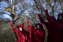 18-01-2020 - The Invisible Circus, Stop HS2 protest camp against the destruction of 108 ancient woodlands, Colne Valley, Uxbridge. Red Rebel Brigade performing © Jess Hurd