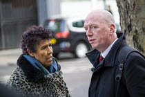 27-01-2020 - Matt Wrack FBU talking to Moyra Samuels, Justice4Grenfell before the Grenfell fire Inquiry phase two, day one,, Paddington, London. © Jess Hurd