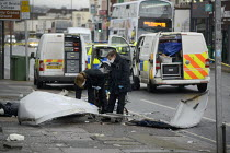30-01-2020 - Gloucester Road, Bristol, Forensic scientist examinng a Cashpoint machine destroyed in an explosion © Sam Morgan Moore