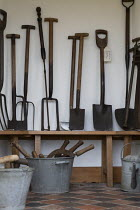 02-02-2020 - Old gardening tools, Hill Close Gardens, Warwick - restored Victorian hedged gardens © John Harris