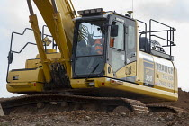 05-02-2020 - Digger driver taking a break with his feet up, Construction site, Coventry & Warwickshire Gateway © John Harris