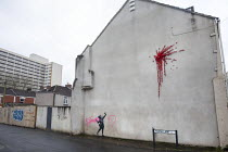 15-02-2020 - Banksy artwork finished on Valentines day vandalised overnight. Graffiti says ' BCC wankers' referring to Bristol City Council. Easton, Bristol © Paul Box