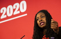 16-02-2020 - Dawn Butler speaking Labour Deputy Leadership Hustings, hosted by Co-coperative Party, Business Design Centre, North London. © Jess Hurd