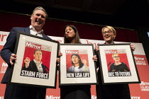 08-03-2020 - Keir Starmer, Lisa Nandy, Rebecca Long-Bailey with mocked up Mirror Front pages Labour Leader Hustings, Dudley © John Harris