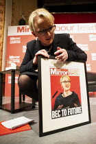 08-03-2020 - Rebecca Long-Bailey with mocked up Mirror Front pages Labour Leader Hustings, Dudley © John Harris