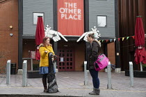17-03-2020 - Freelance musicians without work at the Royal Shakespeare Theatre closed due to Coronavirus, Stratford upon Avon, Warwickshire. Infection risk © John Harris