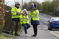 11-03-2020 - Community Speedwatch group measuring vehicle speed in a 30 mph speed limit. Trained volunteers from the local community monitoring the speeds of vehicles with approved, hand held speed measurement dev... © John Harris