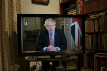 23-03-2020 - Boris Johnson speaking to the nation on TV, announcing Strict new curbs on life in the UK to tackle the spread of coronavirus © John Harris