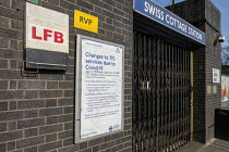 07-04-2020 - Coronavirus Pandemic. Closed Swiss Cottage underground station, London. Station closed to help key stations remain open and allow essential journeys only © Philip Wolmuth