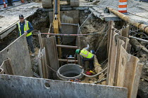 04-08-2020 - Detroit, Michigan, USA. Engineers working on a sewer project © Jim West