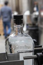 13-04-2020 - Michigan USA. Coronavirus Pandemic. Valentine Distilling Co. producing and bottling hand sanitizer. The distillery has shut down its production of bourbon, gin, and vodka to make hand sanitizer © Jim West