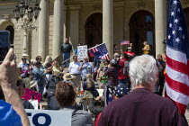 20-05-2020 - Lansing, Michigan USA. Coronavirus Pandemic Karl Manke Michigan barber, speaking to rally, barbers giving free haircuts on the lawn of the Michigan State Capitol in protest at emergency orders which k... © Jim West