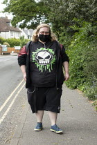 17-05-2020 - Coronavirus Pandemic: Youth with face mask and death virus Tshirt, Stratford upon Avon © John Harris