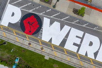 18-06-2020 - Detroit, Michigan USA POWER TO THE PEOPLE painted by youth on Woodward Avenue with the support of the city of Detroit. The project comes amid weeks of Black Lives Matter protests over the murder of Ge... © Jim West