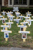 19-06-2020 - Detroit, Michigan USA. Black Lives Matter Memorial. John Thorn placed 42 crosses on the lawn of his home as a memorial to honor those African Americans who have died at the hands of police during the... © Jim West