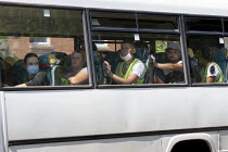 25-06-2020 - Exhausted migrant workers being shuttled back from the onion fields, Stratford upon Avon, Warwickshire © John Harris