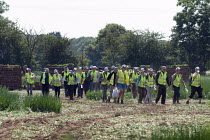 25-06-2020 - Migrant workers walking from the spring onion fields to their shuttle transport, Warwickshire © John Harris