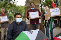 04-07-2020 - Palestine Solidarity Campaign Protest against Israeli annexation of the West Bank, Altab Ali Park, Tower Hamlets, East London, in a national day of action © Jess Hurd