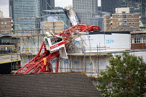 08-07-2020 - Crane collapsed onto houses, Watts Grove, Bow, East London. Swan NU Living housing development © Jess Hurd