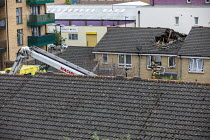 08-07-2020 - Search and Rescue operation, crane collapsed onto houses, Watts Grove, Bow, East London. Swan NU Living housing development © Jess Hurd