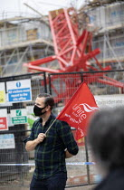 07-09-2020 - Construction Safety Campaign vigil, Bow crane collapse, Watts Grove construction site, one person killed and homes destroyed. Tower Hamlets, East London. No More Deaths © Jess Hurd