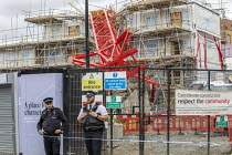 07-09-2020 - Police, Bow crane collapse, Watts Grove construction site, killing one person killed and homes destroyed. Tower Hamlets, East London © Jess Hurd