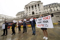 06-08-2020 - Protest for a Green Covid Recovery, Bank of England, City of London. Protestors wearing Bank of England governor Andrew Bailey masks encourage investment in a Green New Deal. The Bank of England is cu... © Jess Hurd