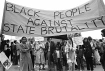 03-06-1979 - Asian women protest against Police racism, 1979, East London. Black People Against State Brutality © NLA