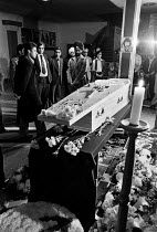 12-06-1979 - Blair Peach funeral Southall 1979. Mourners vigil, the body of Blair Peach in his coffin the day before his funeral. Dominion cinema, Southall, West London 1979. Peach was killed by SPG police at an a... © Ray Rising