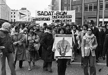 01-04-1979 - Protest against the Sadat-Begin treaty on Palestine 1979 between Egypt and Israel, the Camp David Accords, which angered much of the Arab world, London © Ray Rising