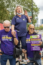 17-08-2020 - Janet Maiden, UCLH nurse speaking in solidarity with Tower Hamlets council workers UNISON strike against Tower Rewards, a contract imposing worse terms and conditions, Whitechapel, London. © Jess Hurd