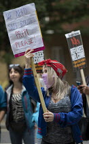 25-08-2020 - Priti Patel placard, Refugees Welcome Here, Stand Up to Racism demands that refugees be guaranteed safe passage to the UK if they wish to claim asylum here, Home Office, London. © Jess Hurd