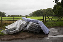 25-08-2020 - Mattresses dumped by the roadside, country lane, Charlecote, Warwickshire © John Harris