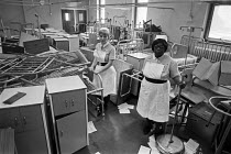 24-09-1983 - Nurses and closed ward, Hackney Hospital, 1983 East London, patients and equipment being moved to Homerton Hospital nearby. © Katalin Arkell