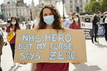 12-09-2020 - NHS workers protest for a pay rise, Trafalgar Square, London © Jess Hurd