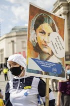 12-09-2020 - NHS workers protest for a pay rise, Trafalgar Square, London. Florence Nightingale © Jess Hurd