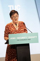 14-09-2020 - Mary Bousted, NEU speaking at TUC Congress 2020 online, Congress House, London. © Jess Hurd