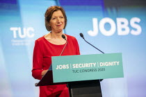 14-09-2020 - Frances O'Grady speaking at TUC Congress 2020 online, Congress House, London. © Jess Hurd