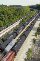 25-09-2020 - Pennsylvania, USA. Empty LNG railway tankers stored in a railyard. Southwest Pennsylvania has seen intense activity in hydraulic fracking for natural gas. © Jim West
