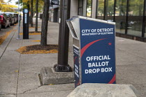 02-10-2020 - Detroit, USA. Drop box for ballots in the Presidential Election in front of the city's elections department office. © Jim West