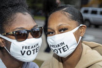 02-10-2020 - Detroit, USA. Young voters wearing Freakin Vote! masks. Friday Rally near the elections department office. © Jim West