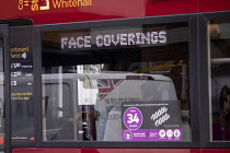 13-10-2020 - Sign requiring Face Coverings on public transport, Bus, Bristol. © Paul Box