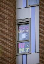 13-10-2020 - Covid-19 signs in the windows, Bristol University halls. Students in lockdown, The Courtrooms. Hundreds of students have tested positive for coronavirus © Paul Box