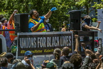 01-12-2019 - California, USA. Unions For Black Lives protest at the police murder of George Floyd in Minneapolis. Hundreds of union members and outraged people march through the streets of Berkeley to protest the... © David Bacon