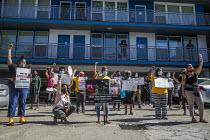 09-07-2020 - California, USA Rent strike against Mosser Capital. Tenants and supporters demonstrate at an Oakland apartment complex where tenants are mounting a rent strike against Mosser Capital, one of several a... © David Bacon