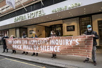 11-11-2020 - Spycops Protest, Undercover Policing Inquiry, Amba Hotel where proceedings will be live streamed, Central London. Bring down the Spycops Inquiry's Brick Wall of Silence © Jess Hurd