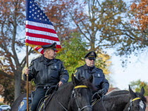 31-10-2020 - Detroit, USA. Mounted police officers leading Central Baptist Church parade © Jim West