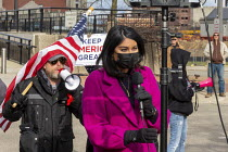 23-11-2020 - Michigan USA Trump supporters shouting at CNN reporter Dianne Gallagher as she broadcasts a live report on air. The Michigan Board of State Canvassers met to decide whether to certify the results of t... © Jim West